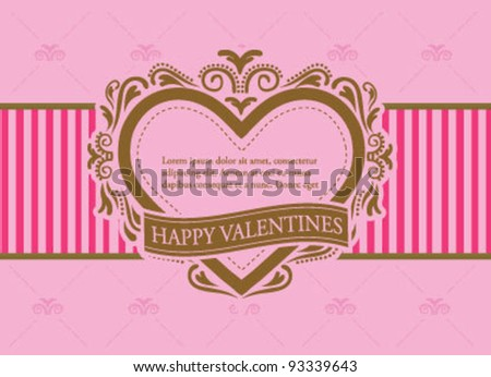 Valentines Day card template frame - stock vector