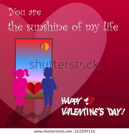 Valentines day card with a couple holding red paper heart in front of the door seeing the sun rise. Vector illustration - stock vector