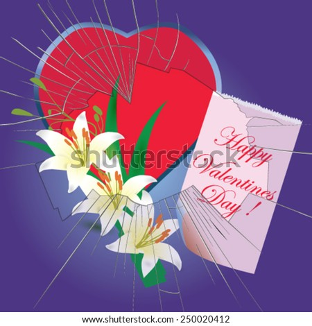 Valentines Day card with heart, flowers and broken window - vector illustration. - stock vector