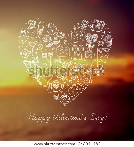 Valentines Day card with heart made from white love symbols on blurred background with sunrise sky and sea, - stock vector