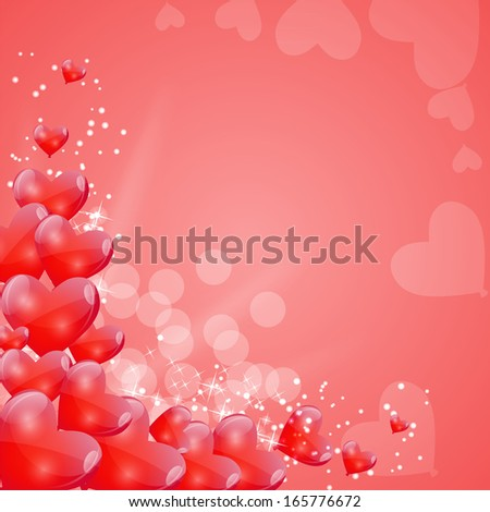 Valentines Day Card with Heart Shaped Balloons, Vector Illustration - stock vector