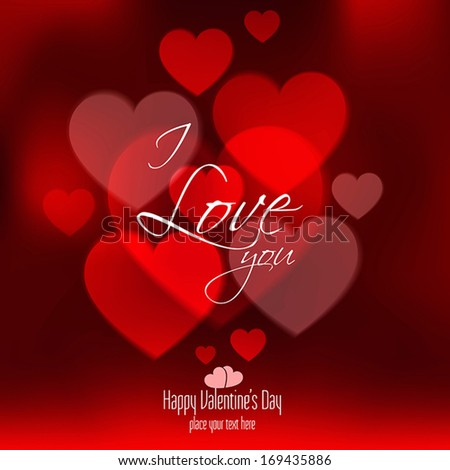 Valentines Day Card With Hearts. Vector - stock vector