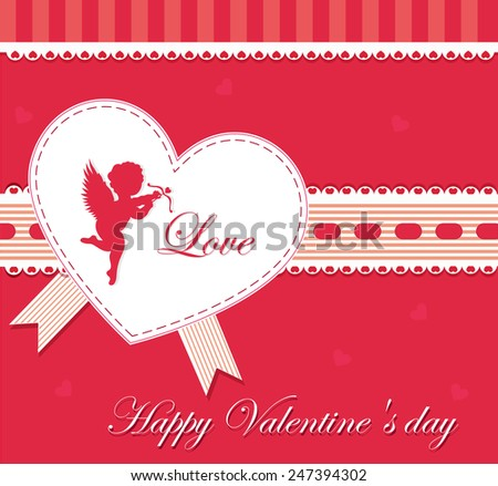 Valentines Day Card With Hearts, Vector Illustration - stock vector