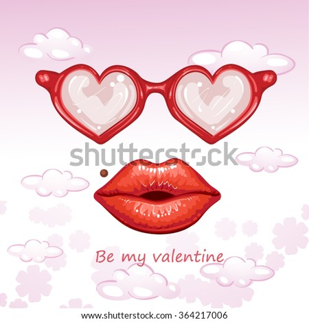 Valentines Day card with lips and glasses - stock vector