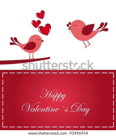 Valentines day card with loving birds, vector illustration - stock vector