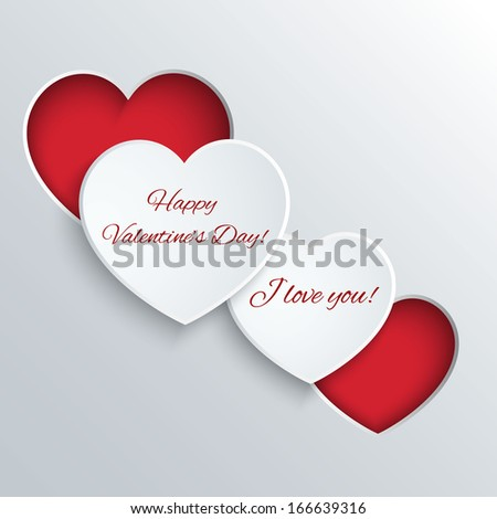 Valentines Day card with paper heart  - stock vector