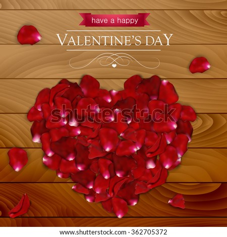 Valentines day card with pink rose pestles shaped like a heart on dark wood. - stock vector