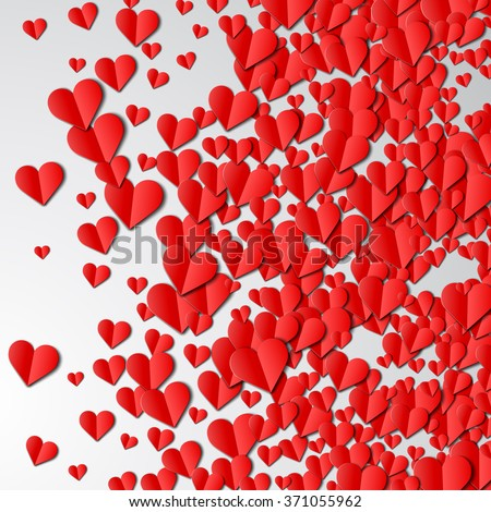 Valentines Day card with scattered cut paper hearts - stock vector
