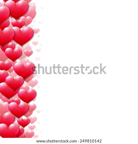 Valentines Day card with scattered purple hearts on the edge - stock vector