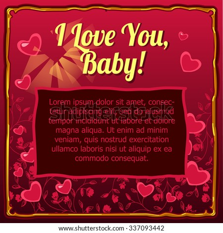 Valentines day card with space for your text on a dark red background - stock vector