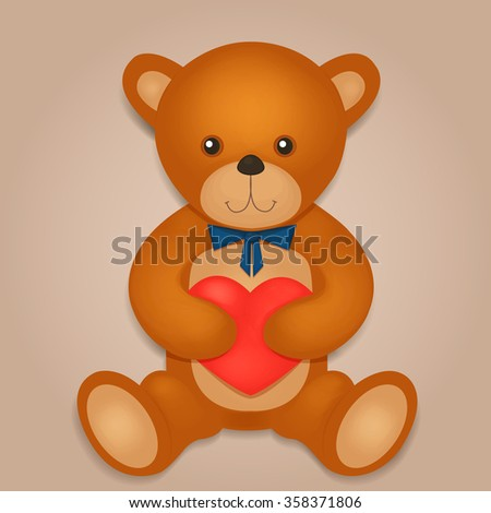 Very Cute Teddy Bear Red Heart Illustration 171471089 – Teddy Bear Valentines Day Card