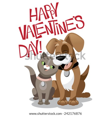 Valentines Day cartoon dog and cat EPS 10 vector stock illustration - stock vector
