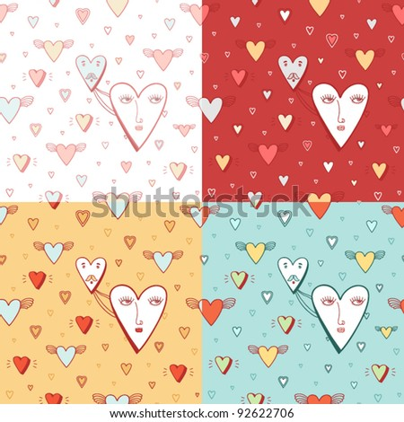 Valentines Day cartoon set with hearts