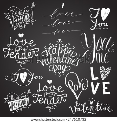 valentines day chalk calligraphy lettering set on black - stock vector