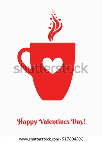 Valentines day coffee mug with heart ornament. Vector illustration