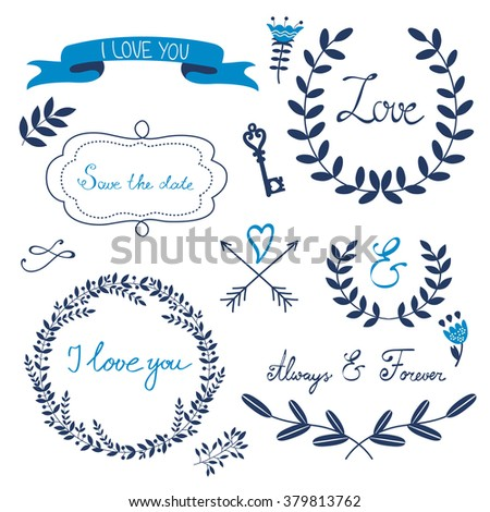 Valentines day collection with flowers, wreaths and other graphic elements. Retro style floral wreaths. - stock vector