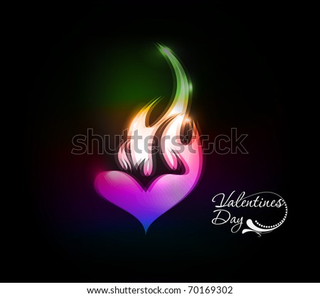 valentines day colorful fire heart icon design element background. - stock vector