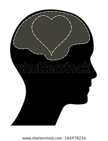 Valentines day concept vector. Human head with brain and heart. Isolated easy to edit vector illustration. Raster available in my portfolio.  - stock vector