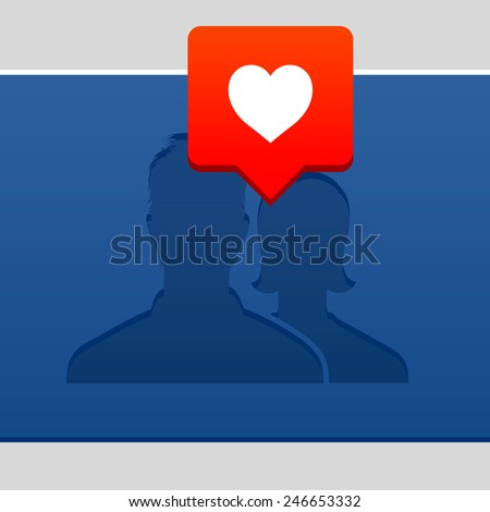 Valentines Day concept, with user avatar icon and bubble with heart, vector illustration.