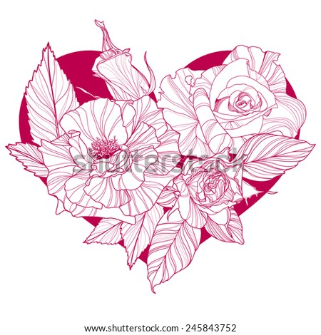 Valentines day design with rose flower. Vector illustration. - stock vector