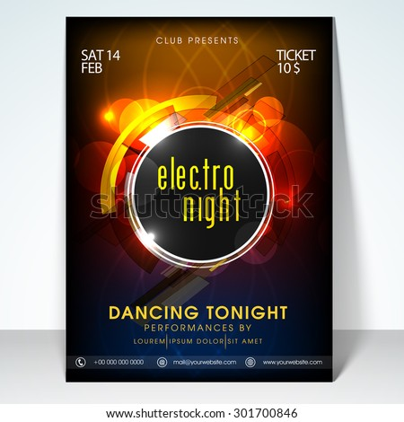 Valentines day electro night party flyer, banner or template design. - stock vector