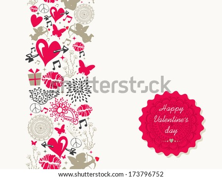 Valentines day elements, retro label and flat icons love seamless pattern background. EPS10 vector file organized in layers for easy editing. - stock vector