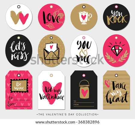 Valentines day gift tags, cards and stickers with calligraphy. Hand drawn design elements. Handwritten modern lettering. - stock vector