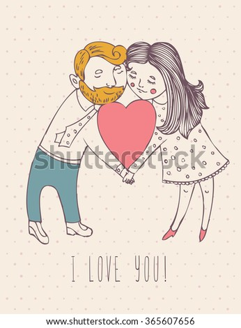 Valentines day greeting card in vintage hipster design. I love you retro note. Hand drawn style.