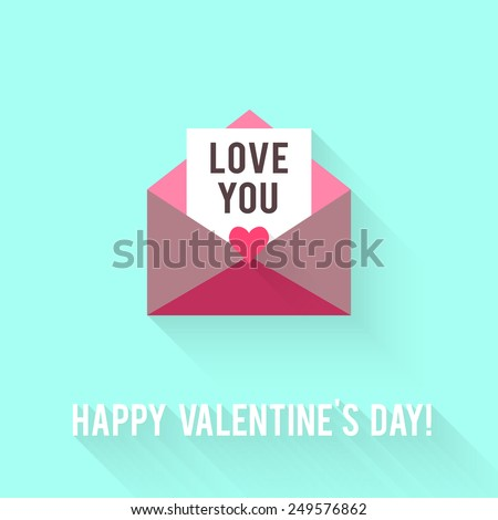Valentines Day greeting card. Love concept in flat style. Vector illustration EPS10. - stock vector