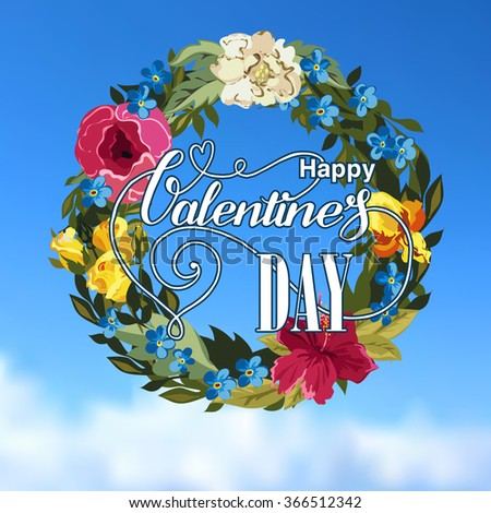 Valentines day greeting card with flower Wreath - stock vector