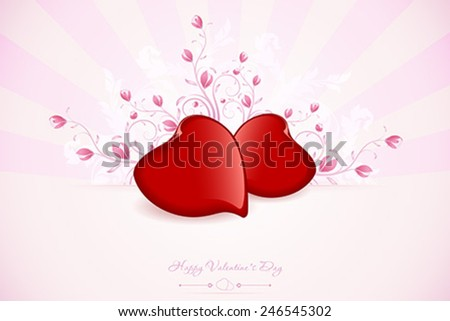 Valentines Day Greeting Card with Ornaments Floral and Rays - stock vector