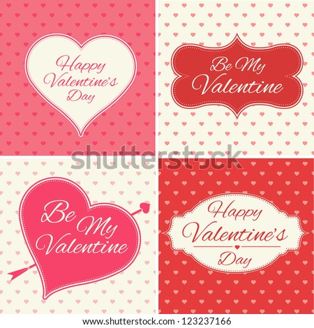 Valentines Day Greeting Cards Set - stock vector