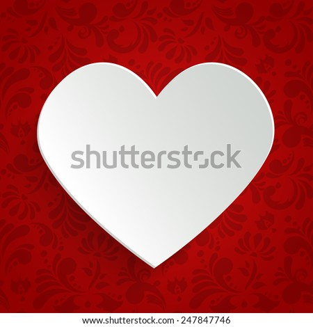 Valentines day greeting or invitation card with paper cut heart over floral seamless pattern. Vector design template. - stock vector