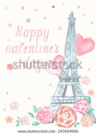 Valentines day greeting watercolor card - stock vector