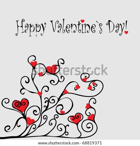 Valentines Day grunge background with Hearts, flower , element for design - stock vector