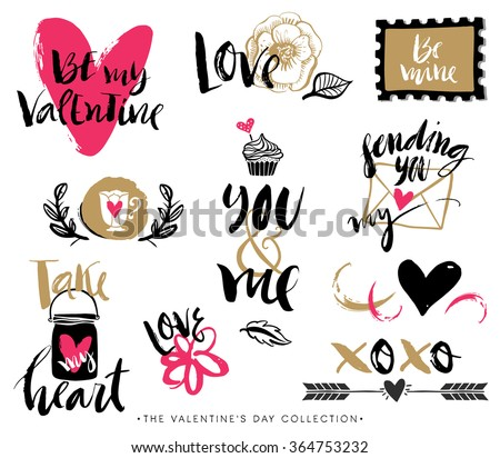 Valentines day hand drawn design elements with calligraphy. Handwritten modern lettering. - stock vector