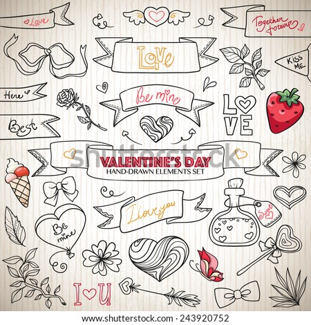 Valentines day hand drawn elements set with hearts, ribbons, romantic symbols, logo elements - stock vector