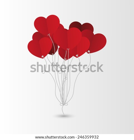 Valentines Day Heart Balloons. Background. Vector - stock vector