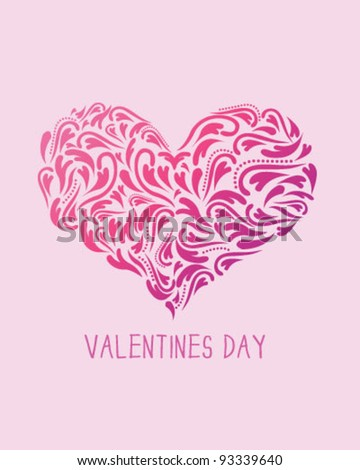 Valentines Day heart card template - stock vector