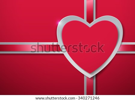 Valentines Day. Heart cut from Paper with Ribbon, Vector Illustration - stock vector