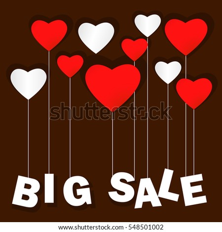Valentines Day Heart Sale Tag Poster Stock Vector 553990342