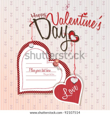 Valentines day - Love card - stock vector