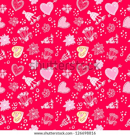 Valentines day Love Doodle Floral seamless Pattern in Red Pink colors. for wallpaper, pattern fills, web page background, surface textures.