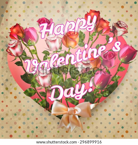 Valentines day message with roses on polka dot. EPS 10 vector file included - stock vector