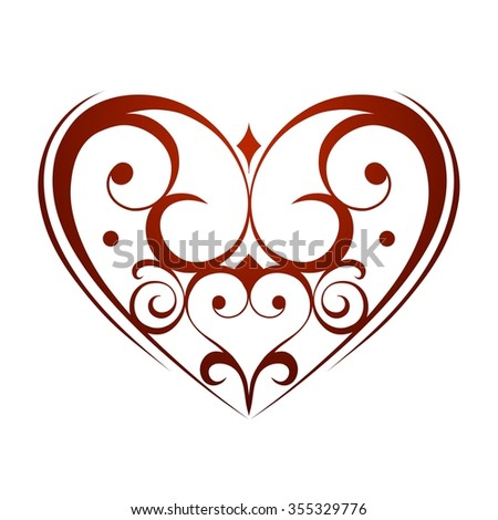 Valentines Day ornament heart vector background - stock vector