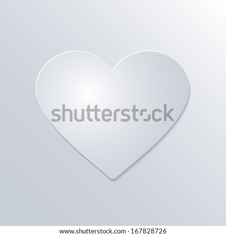 Valentines Day Paper Heart  on White Background - stock vector