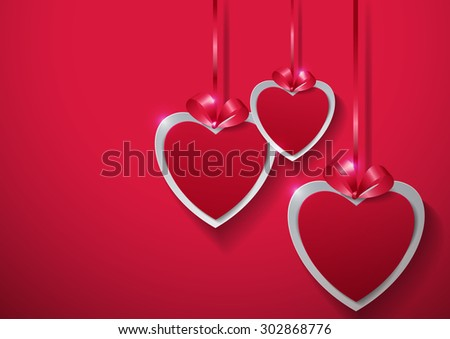 Valentines Day. Paper Hearts Hanging with Ribbon on Pink Background, Vector Illustration - stock vector