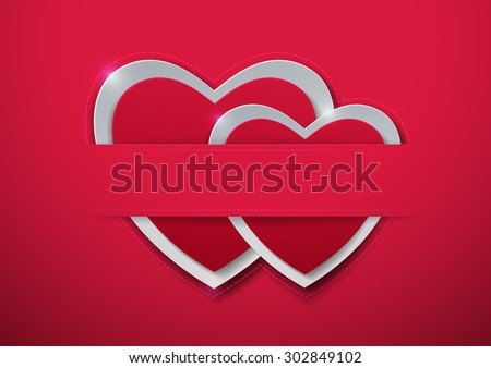 Valentines Day. Paper Hearts on Pink Background, Vector Illustration - stock vector