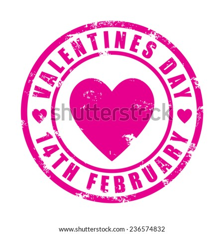 Valentines day, pink rubber stamp, vector illustration - stock vector