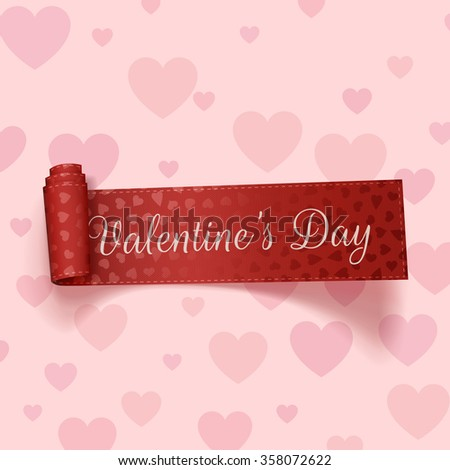 Valentines Day realistic red festive Ribbon - stock vector